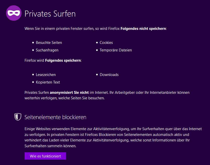 Firefox Privates Surfen